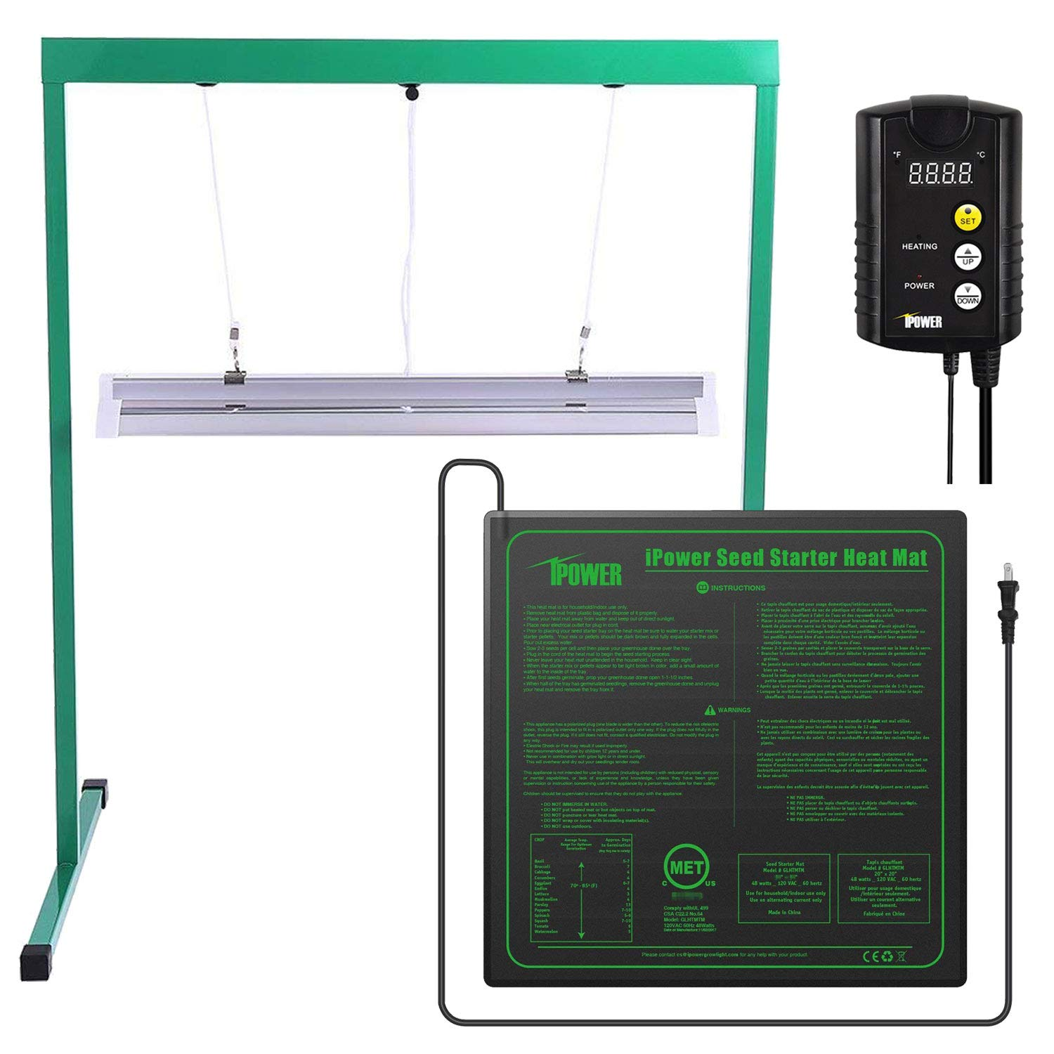 iPower 24W 2 Feet T5 Fluorescent Grow Light Stand Rack (6400k) and 20'' x 20'' Seedling Heat Mat and 40-108 Degrees Fahrenheit Digital Heat Mat Thermostat Controller Combo Set for Seed Germination