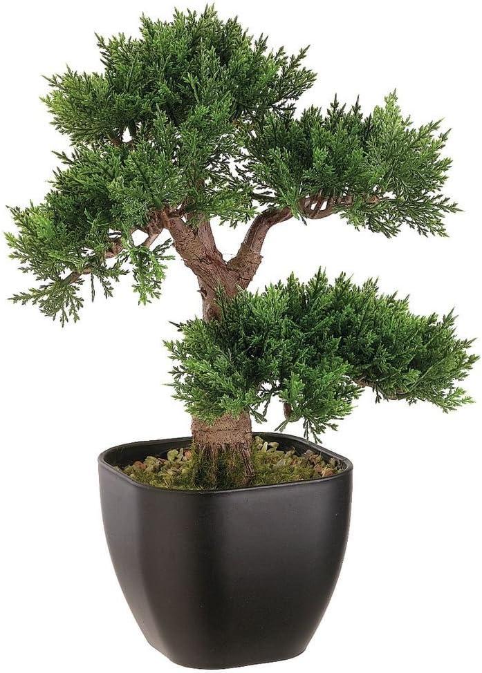 15 Artificial Cedar Bonsai Tree In Black Container Home Kitchen