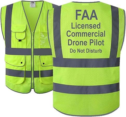 TCCA FAA Licensed Commercial Drone Pilot Hi-Vis Polyester Mesh Safety Vest