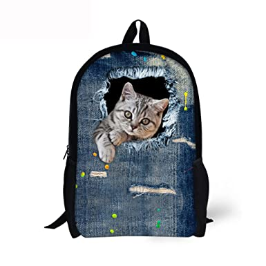 43888c4e76 Middle School Backpack For Teen Large Casual Durable Daypack Cat Denim Print