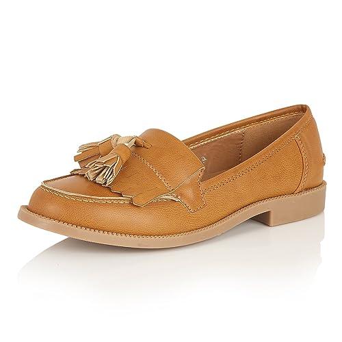 Mocasines de mujer, con espuma de memoria, tacón bajo, color Marrón, talla 35.5: Amazon.es: Zapatos y complementos