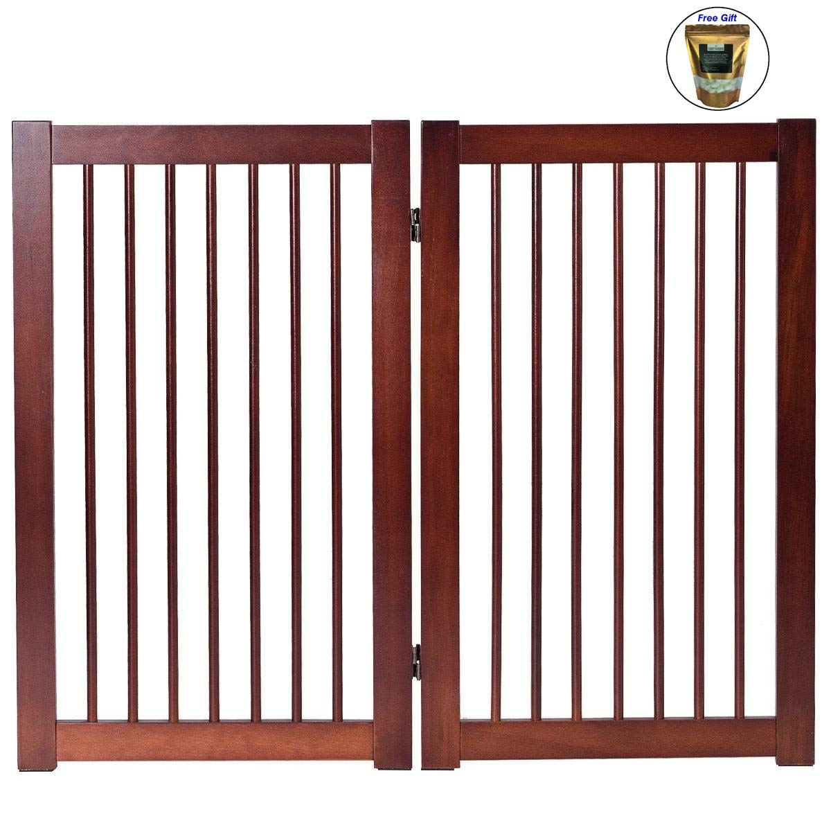 CWY 36'' Configurable Folding Wood Pet Dog Safety Fence with Gate B Only by eight24hours