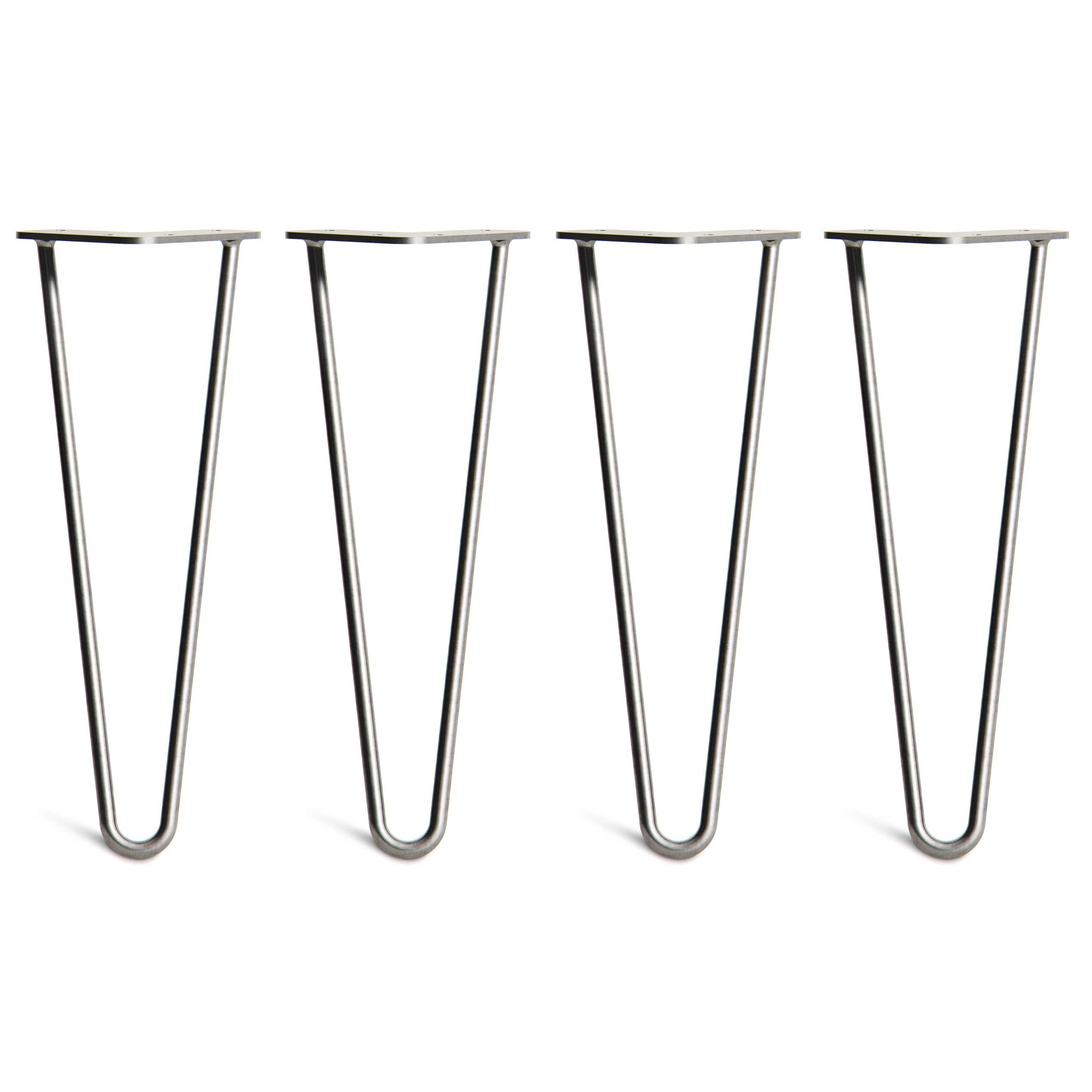 4 x Hairpin Table Legs – Superior Double Weld Steel Construction With FREE Screws, Build Guide & Protector Feet, Worth $10! – Mid-Century Modern Style – 4'' To 34'', All Finishes (3/8 inch)