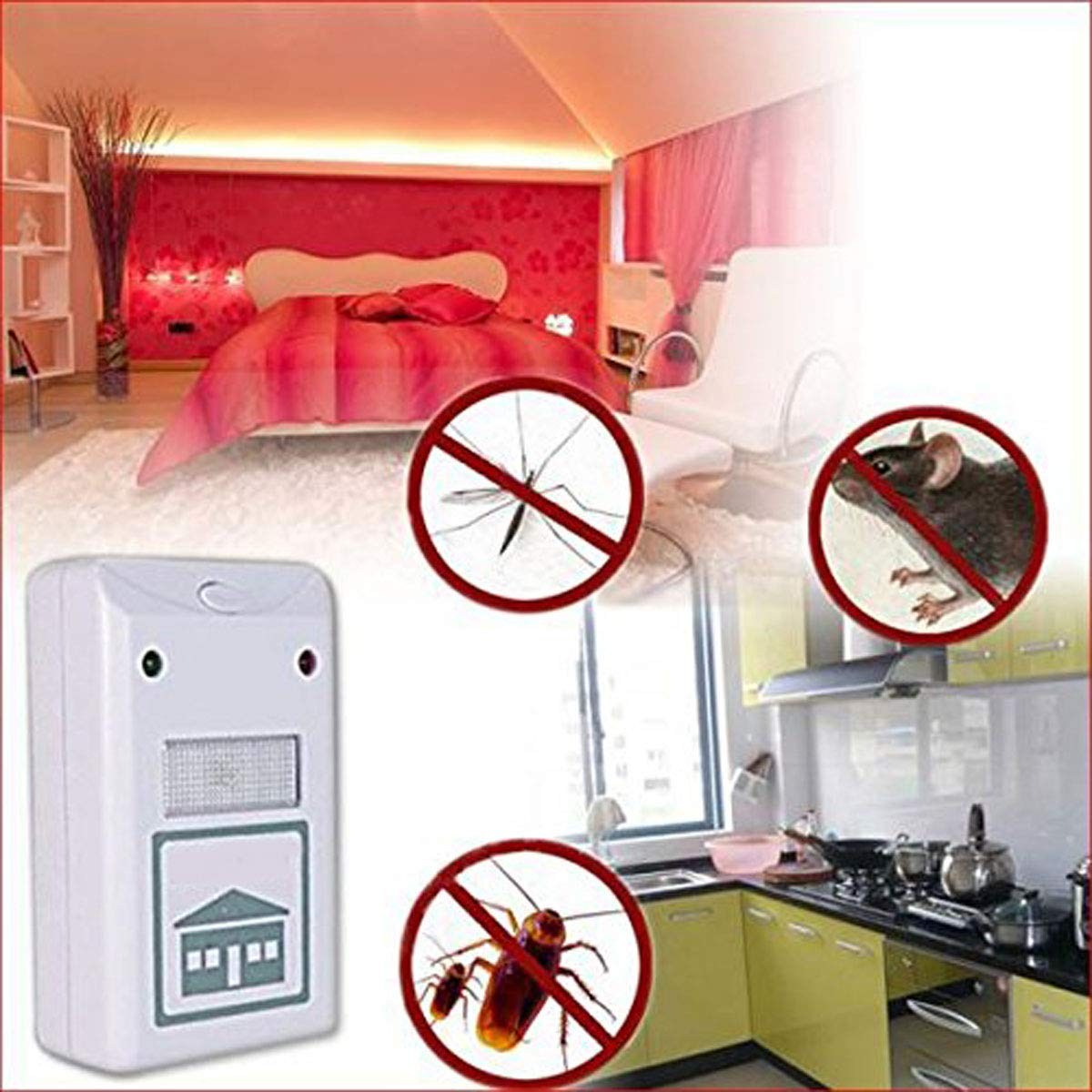 MYEDO Riddex Plus Pest Repeller Ultrasonic Repellent Electronic Deratization Plug Pest Control Against Mouse, Rat and Insects with Built in Night Light