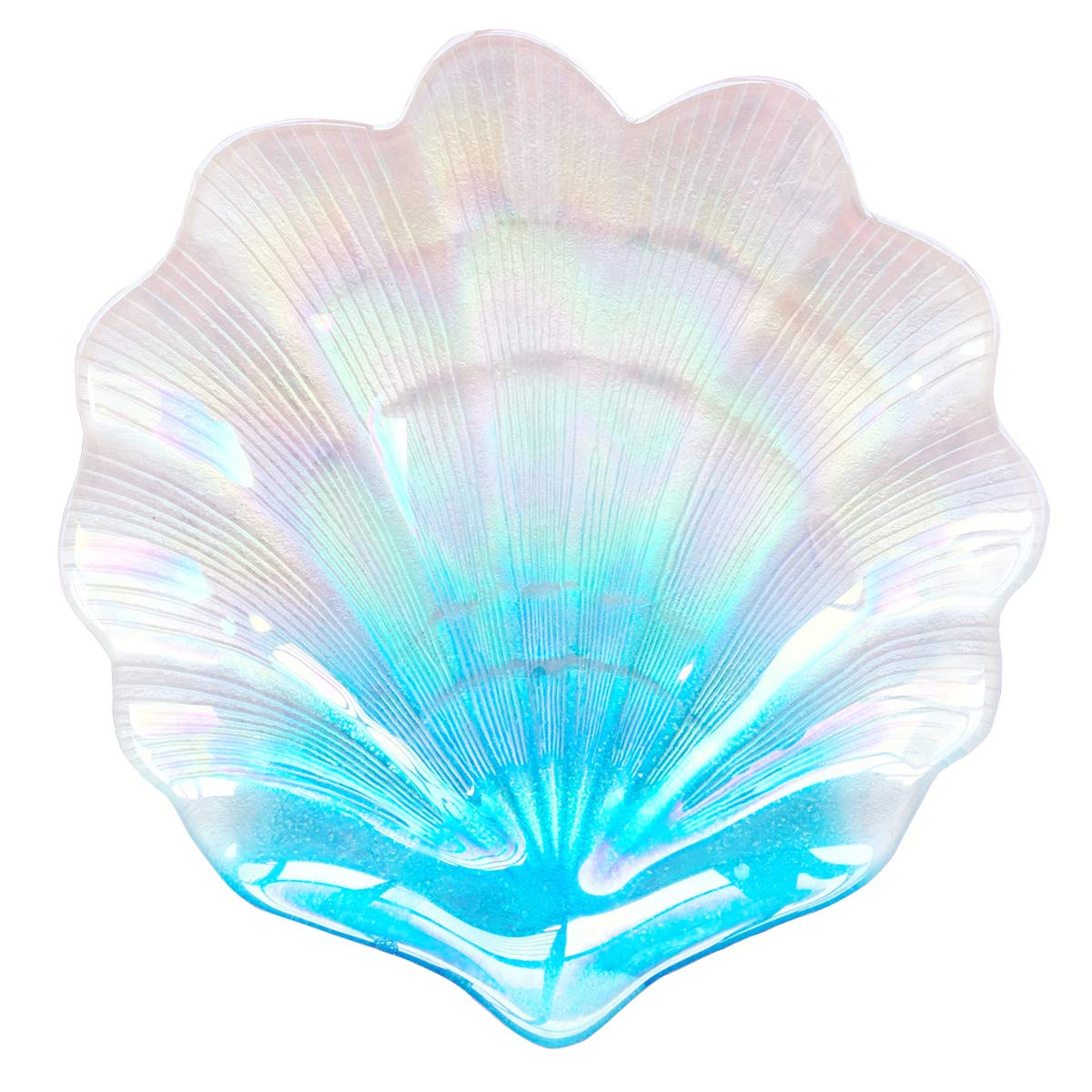 HOMETOOK Shell Dish 12inch Blue Glass Plates in Ocean Color Jewelry Tray Great Dessert Appetizer Wedding Plates Party Plates