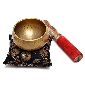 Zap Impex® Bonito regalo de Navidad nuevo handgehämmerte Dorado latón cuenco tibetano de meditación Yoga tibetano Cuenco tibetano 3,5 pulgadas