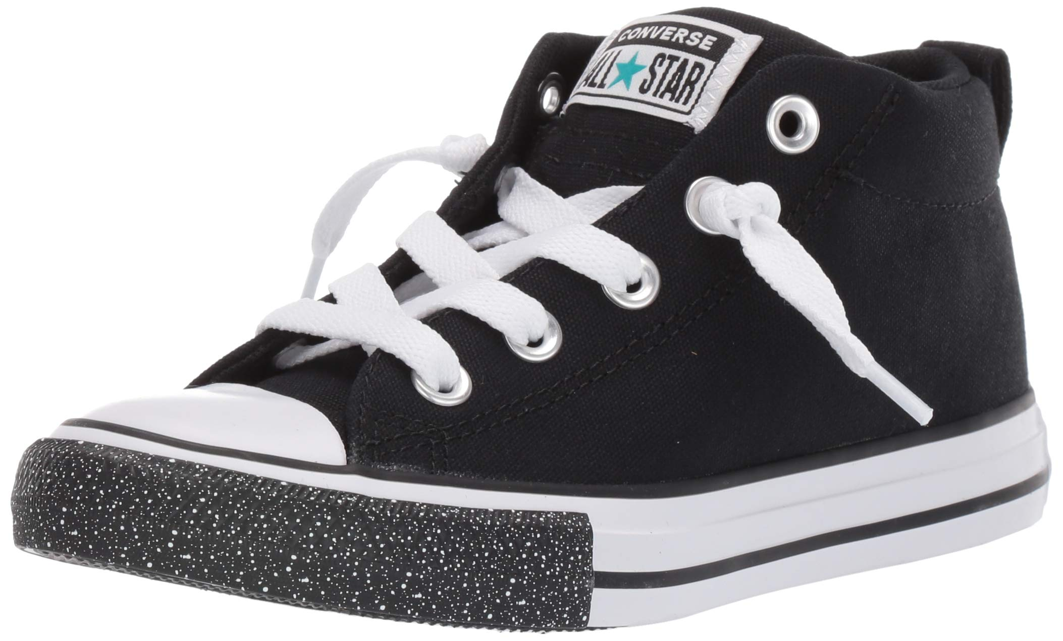 Converse Baby Chuck Taylor All Star Street Speckle Toe Mid Top Sneaker, Black/White/Turbo Green, 10 M US Toddler by Converse
