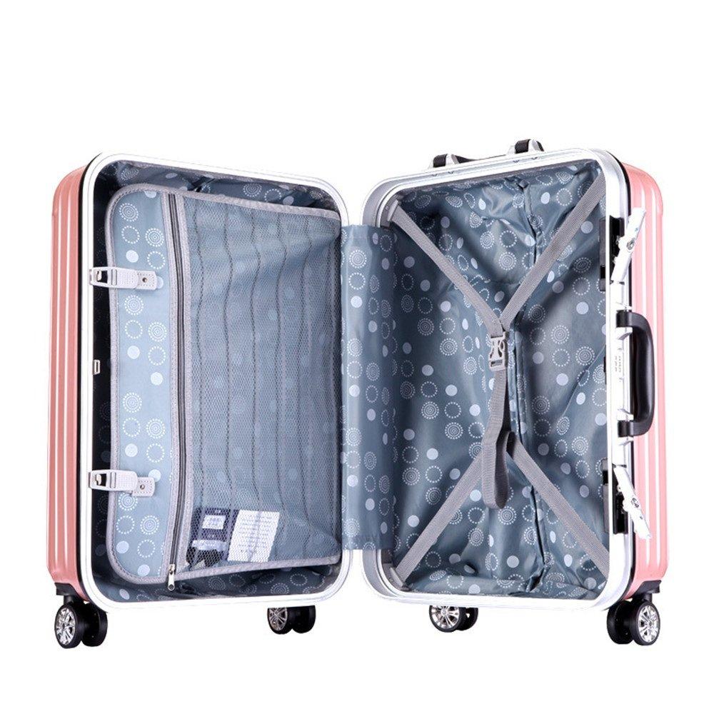 旅行スーツケース、 プルロッドボックス20インチ引き出しアルミフレームプルロッドボックス。 ABSロッドボックスユニバーサルホイールプルロッドボックス。 (色 : ピンク) B07V4BPSQ8 ピンク