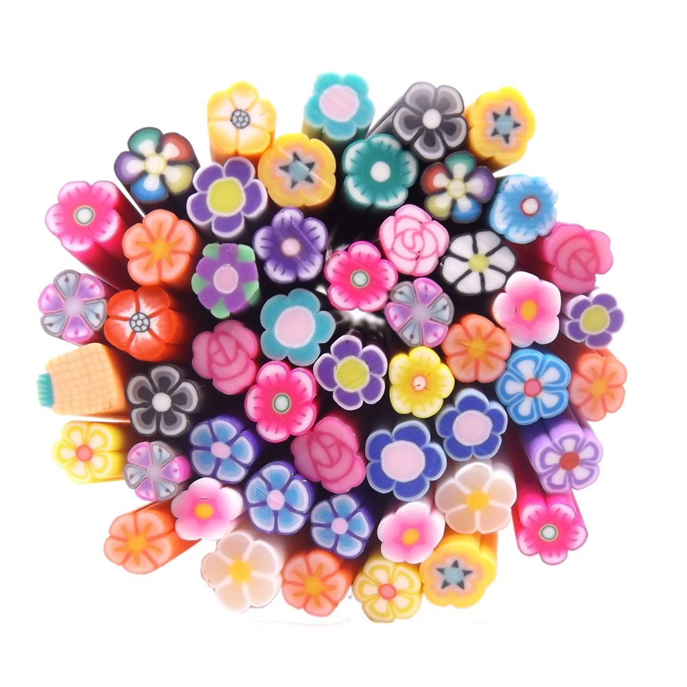 Warm Girl 50PC Fimo Canes 3D Design Rods Sticks Sticker Nail Art Decorations Nail Art tools (flower)