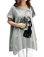Allegra K Women Portrait Print Scoop Neck Asymmetric Hem Loose Tunic Top