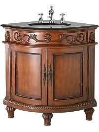 Belle Foret BF80039R Single Basin Bathroom Corner Vanity, Dark Oak