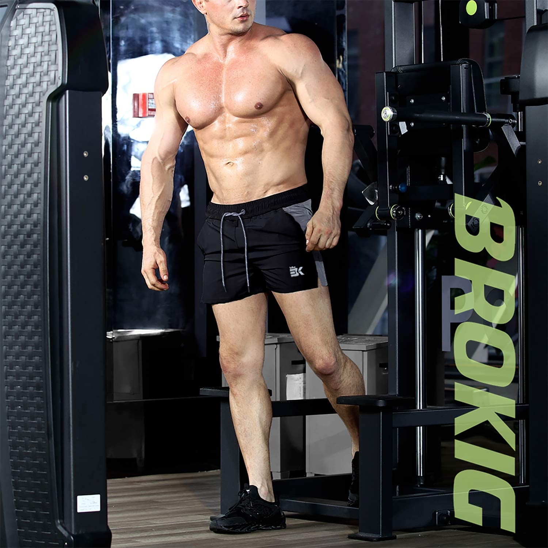 BROKIG Mens 5 Bodybuilding Workout Shorts Running Gym Lightweight Short with Zipper Pockets