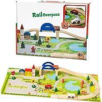 Toyshine Wooden Rail Overpass Train Track Set 40 Pieces Traffic Scene Toy