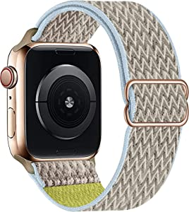 OHCBOOGIE Stretchy Solo Loop Strap Compatible with Apple Watch Bands 38mm 40mm 42mm 44mm ,Adjustable Stretch Braided Sport Elastics Weave Nylon Women Men Wristband Compatible with iWatch Series 6/5/4/3/2/1 SE,Camel,38/40mm