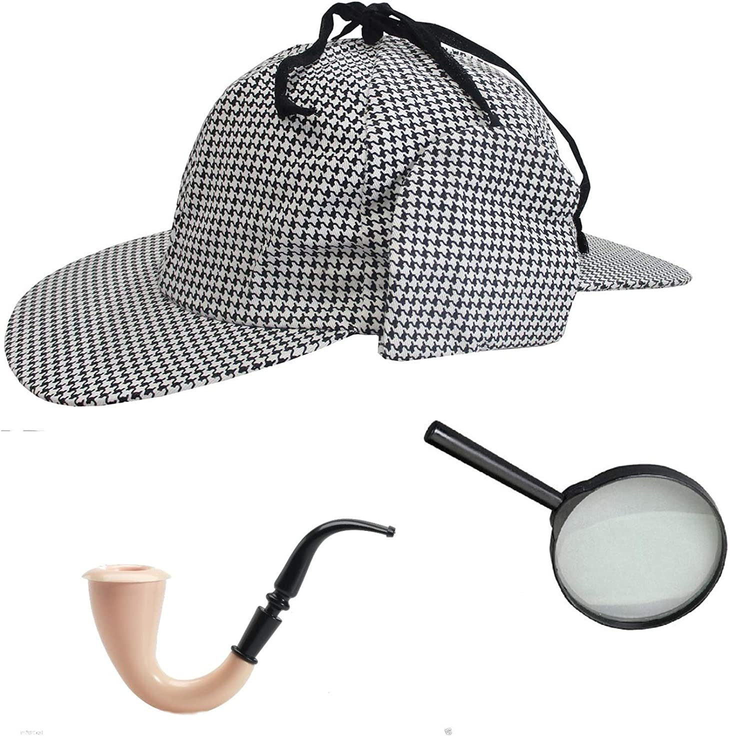 Sherlock Holmes Houndstooth Detective Hat with, Multicolored, Size One Size