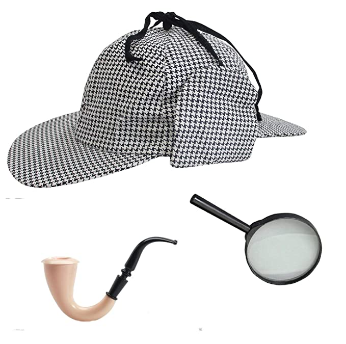 a7351d5f13858 Image Unavailable. Image not available for. Color  Sherlock Holmes  Houndstooth Detective Hat With Costume Pipe ...