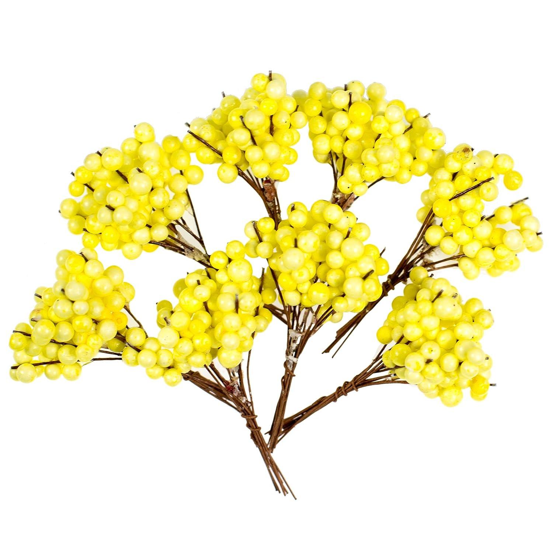 Dekoration Farbe:gelb Floristik maDDma 8 B/ündel Beeren zum Arrangieren Farbwahl