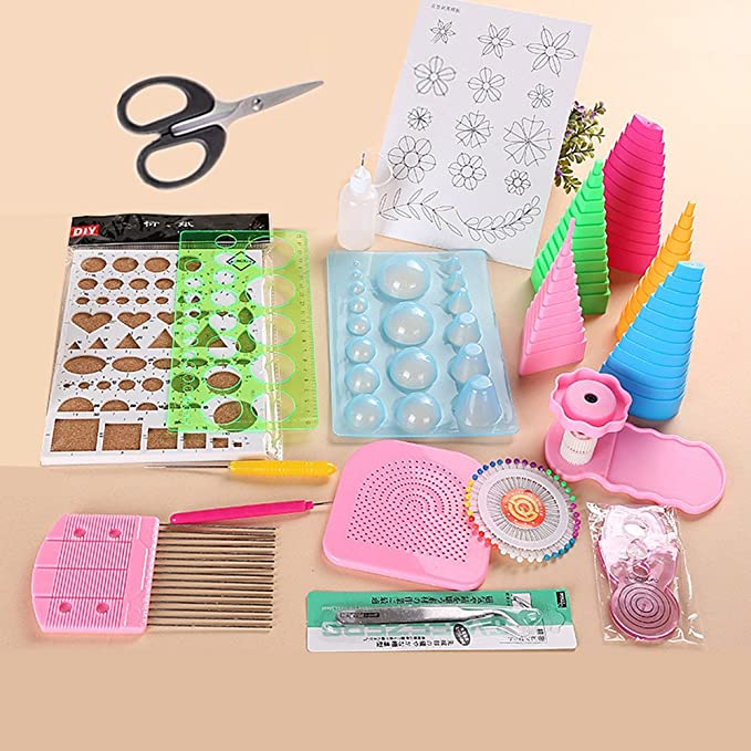 Paper Quilling Kit Paper Strips Paper Quilling Tools Kit DIY Tools Sets Art Craft Decoration for Beginners Advanced Quiller Kids and Adults 9 Colors, 900 Pcs in all, Color Random