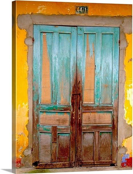 Amazon Com Greatbigcanvas Cuban Blue Door Canvas Wall Art Print Cuba Home Decor Artwork 18 X24 X1 5 Posters Prints