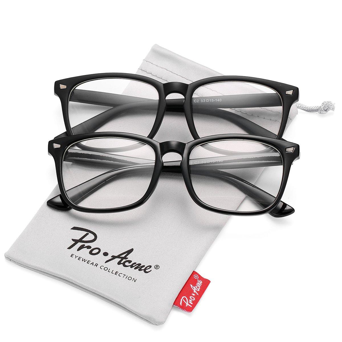 Pro Acme New Wayfarer Non-prescription Glasses Frame Clear Lens Eyeglasses (Black + Matte Black)