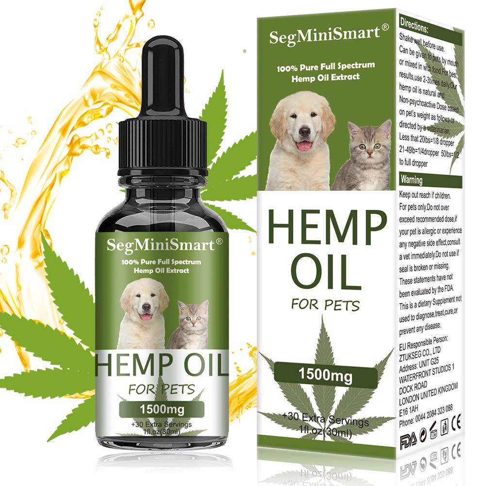 SEGMINISMART Hemp Oil for Dogs and Cats - 1500mg - Stress & Anxiety Relief - Advanced Formula - Hip & Joint Supplement - 100% Organic Pet Hemp Oil - Reduces Pain & Inflammation by SEGMINISMART