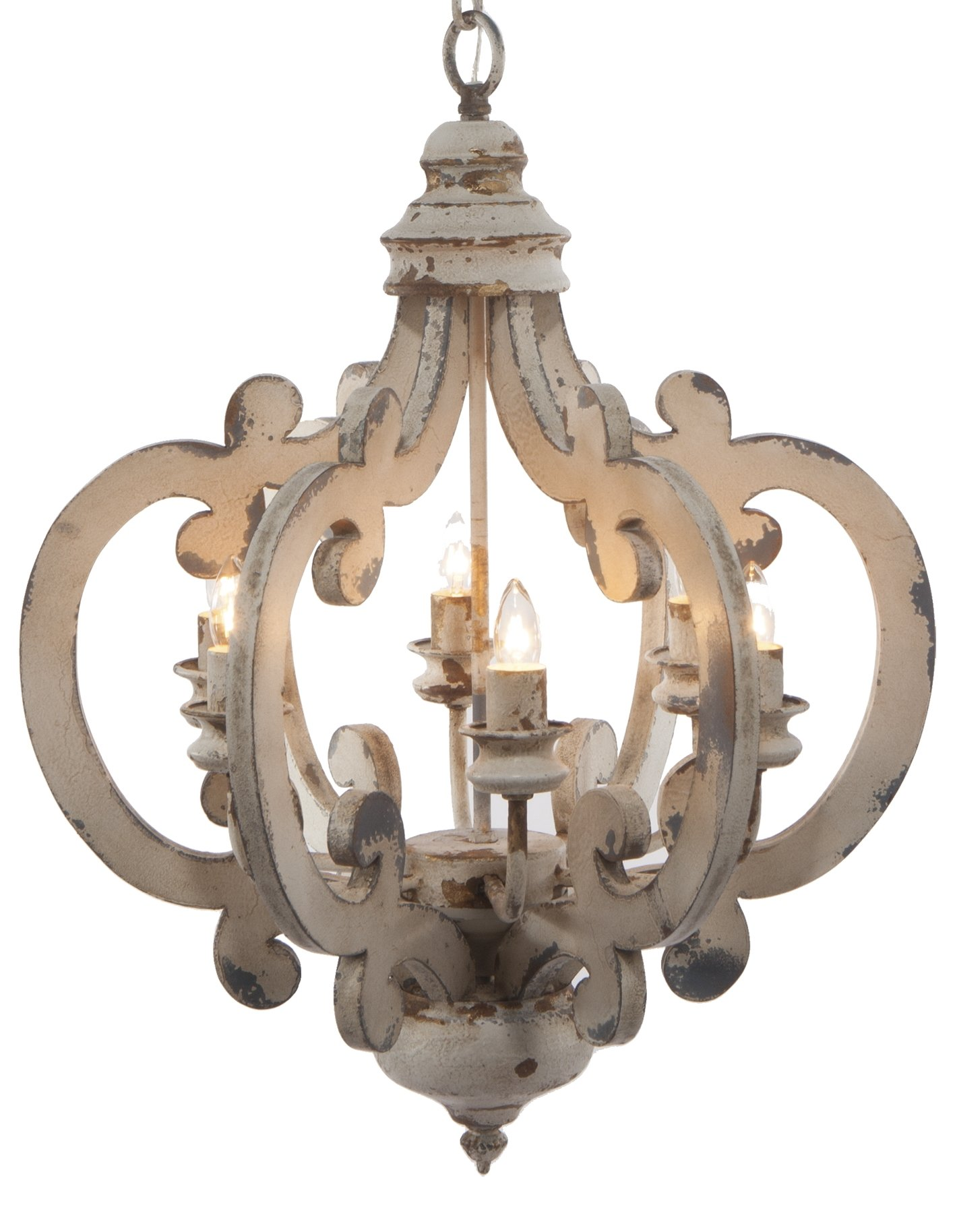 A&B Home Wood and Metal Chandelier, 20.5'' x 18'' x 24''