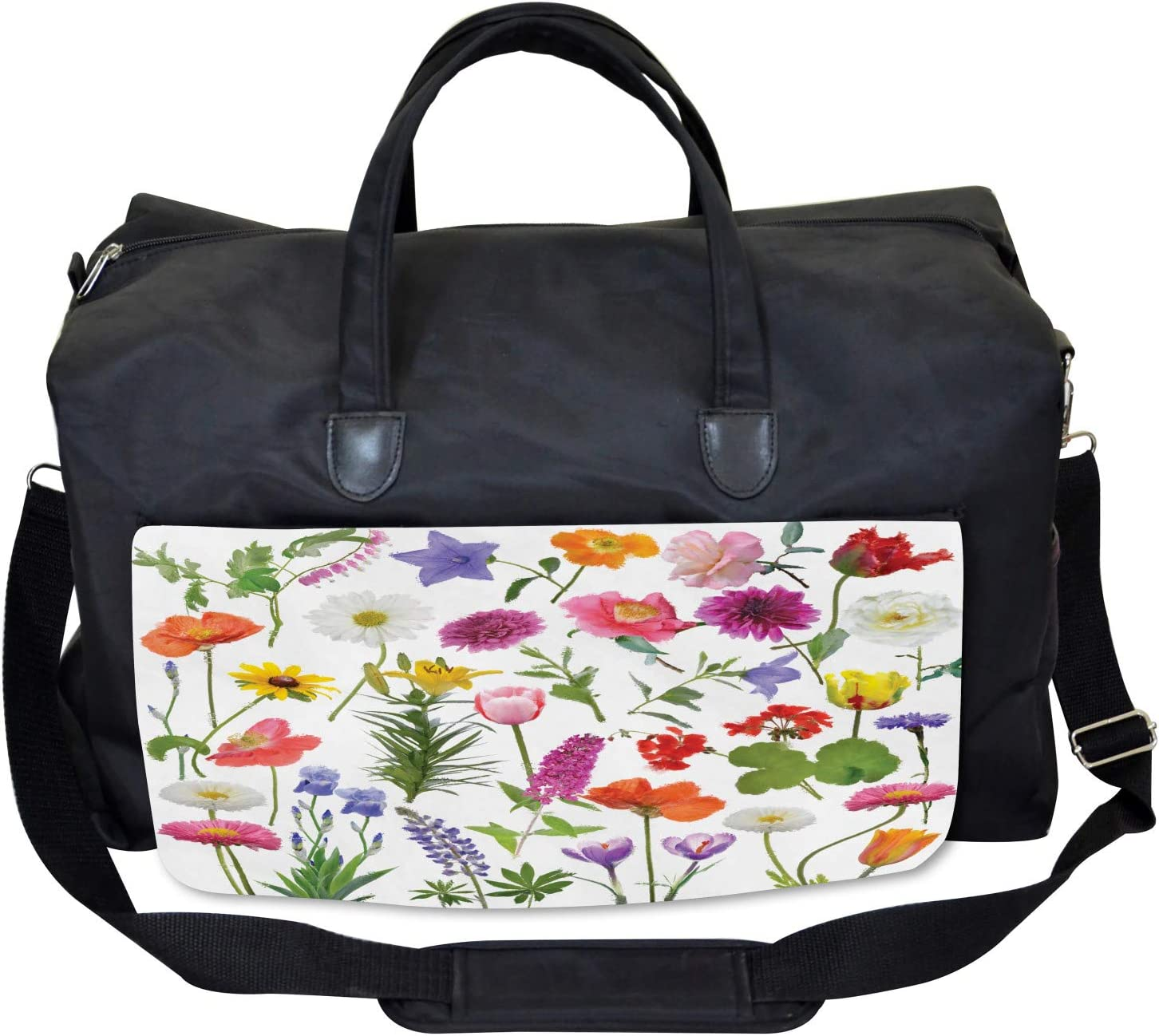 Colored Roses Tulips Large Weekender Carry-on Ambesonne Flower Gym Bag