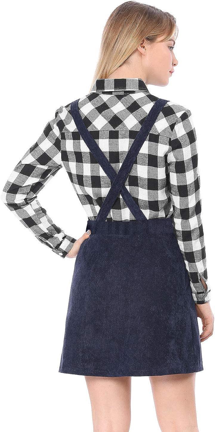 Allegra K Vestido De Falda A L/ínea con Tirantes Decoraci/ón De Botones De Pana para Mujeres