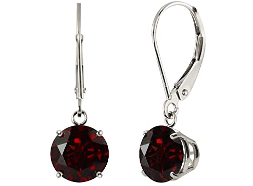 Sterling Silver Round Genuine or Lab Created Gemstone Leverback Dangle Earrings