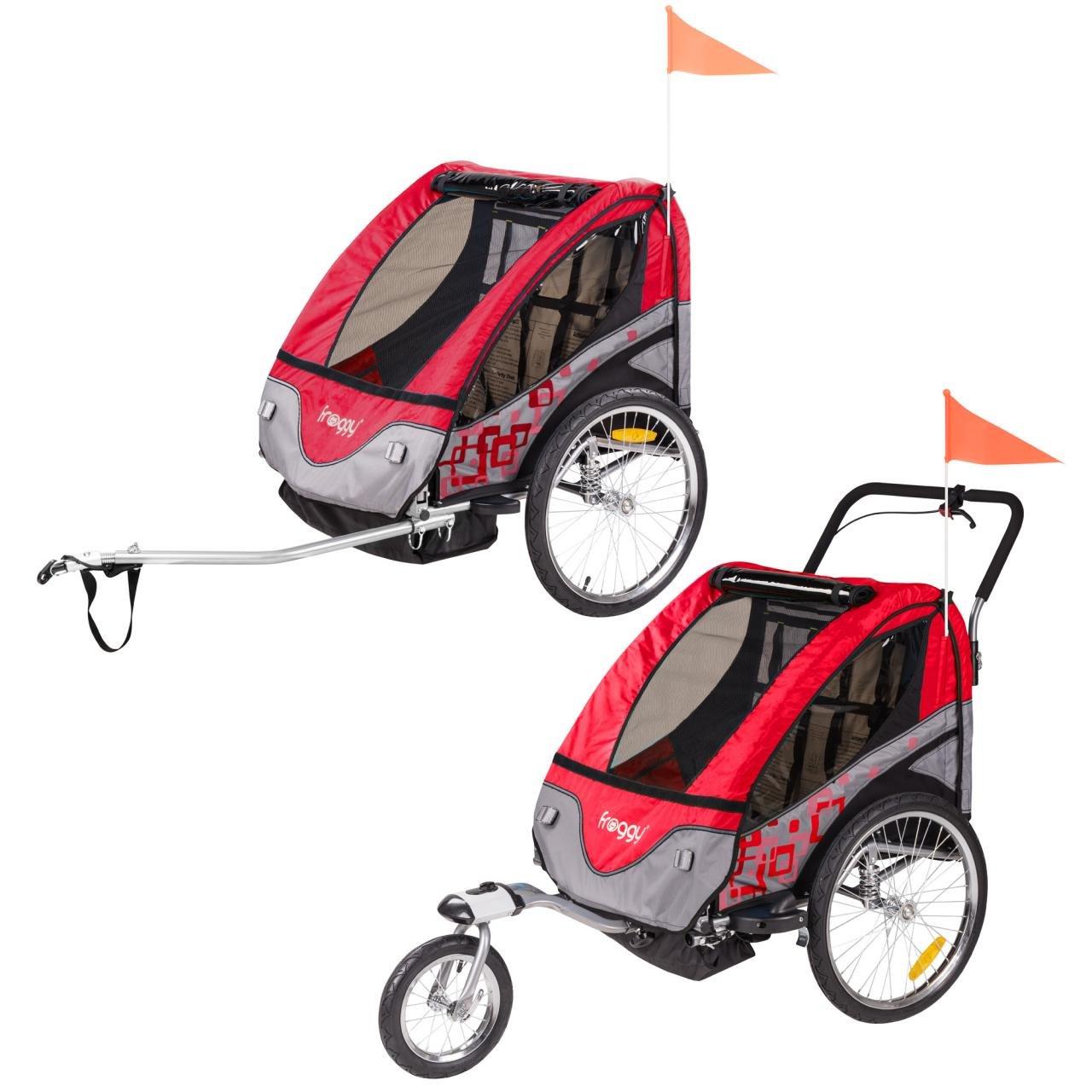 FROGGY Kinder Fahrradanh/änger mit Federung 5-Punkt Sicherheitsgurt Anh/änger f/ür 1 bis 2 Kinder Design Apple