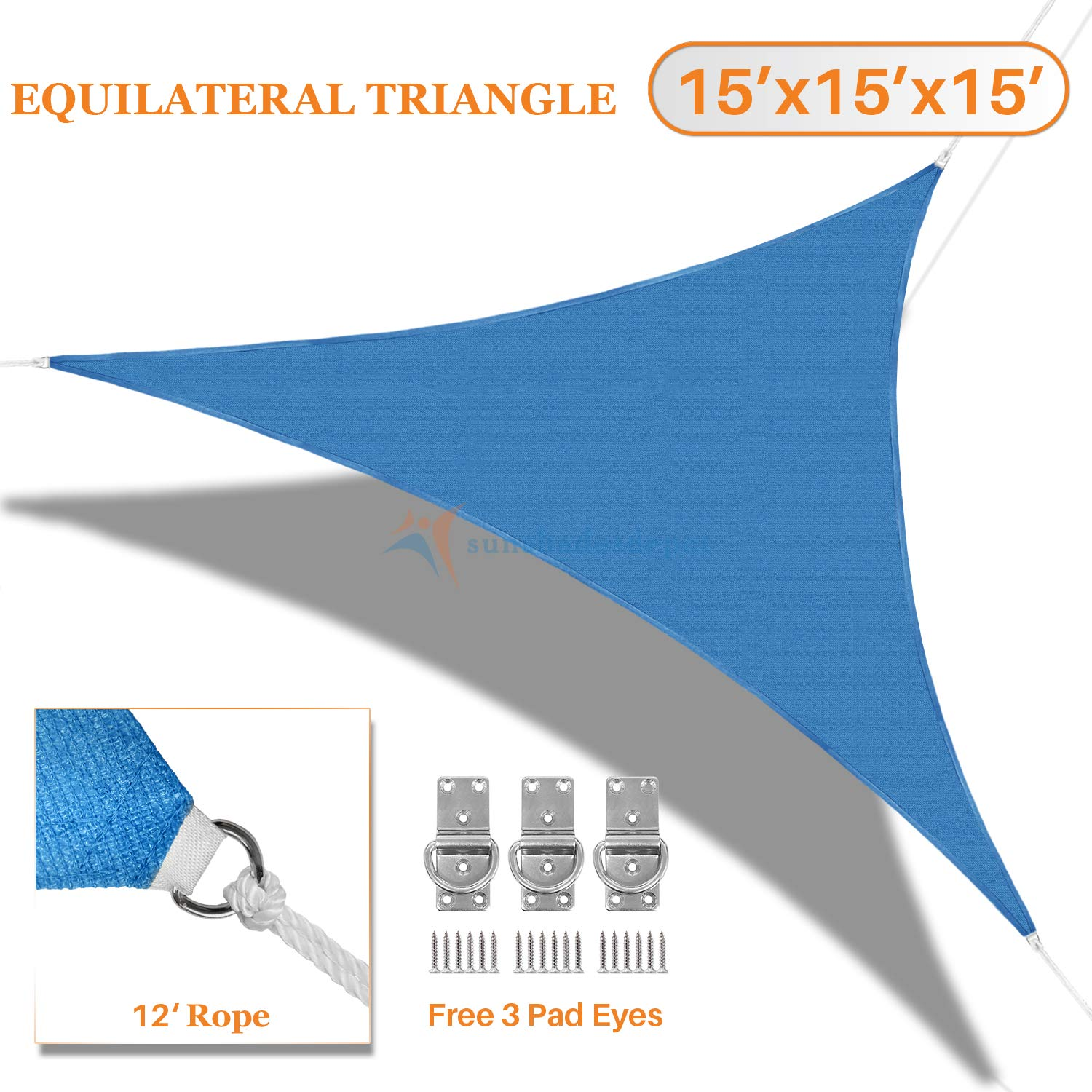 Sunshades Depot 15' x 15' x 15' Sun Shade Sail 180 GSM Equilateral Triangle Permeable Canopy Blue Custom Commercial Standard