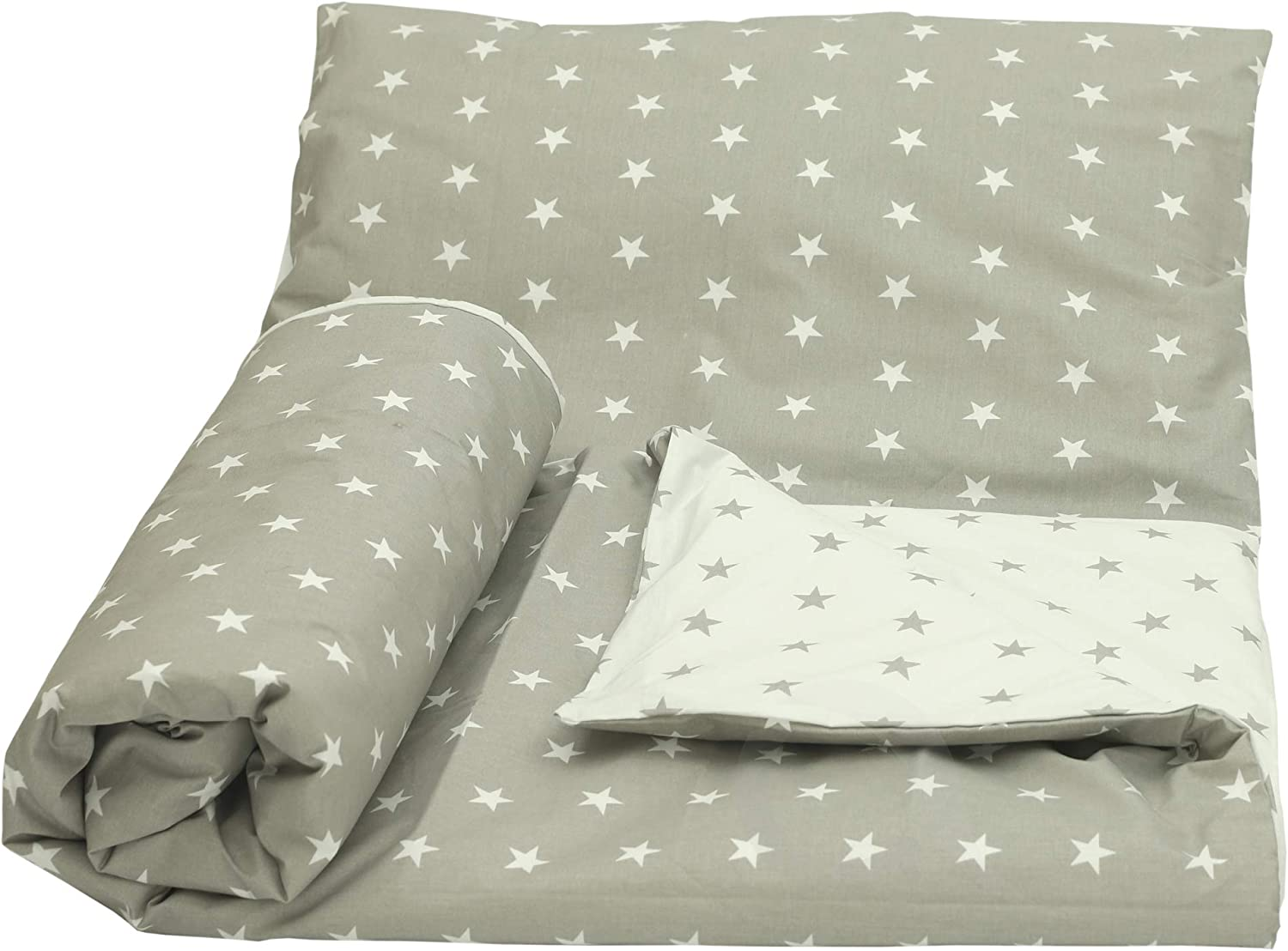 Pink /& Grey Stars//White, 120 x 90 cm Olobaby Reversible Cot Duvet//Quilt Cover and Pillowcase Set 2 pcs 100/% Cotton