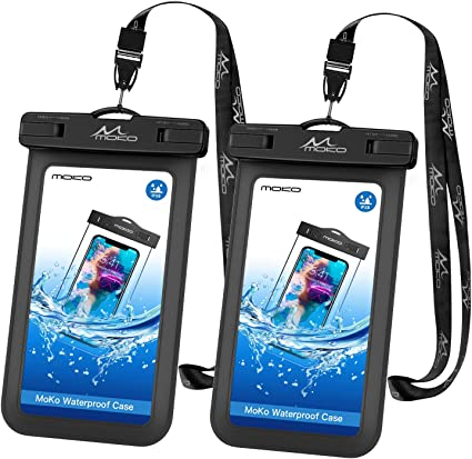 MoKo Waterproof Phone Pouch Black Samsung Galaxy S10//S9//S8 Plus S10 e 8//7//6s Plus Underwater Waterproof Cellphone Case Dry Bag with Lanyard Armband Compatible with iPhone X//Xs//Xr//Xs Max S7 Edge