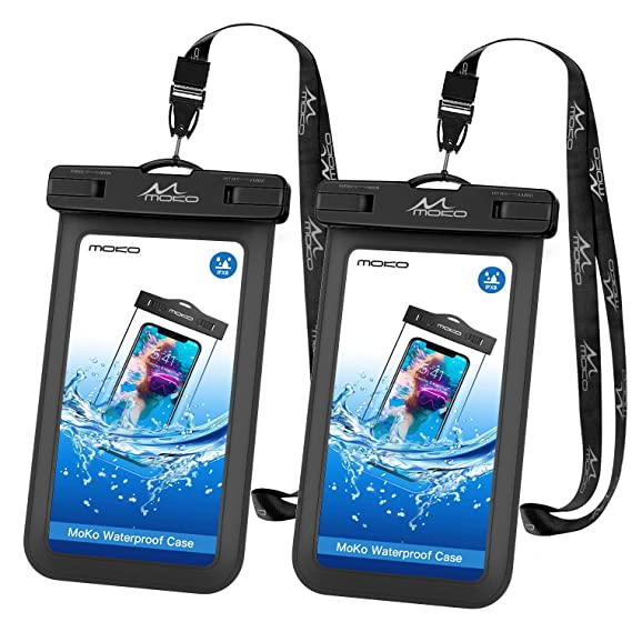 the best attitude 9ac7b 65be9 MoKo Waterproof Phone Pouch [2 Pack], Underwater Phone Case Dry Bag with  Lanyard Compatible with iPhone X/Xs/Xr/Xs Max, 8/7/6s Plus, Samsung Galaxy  ...