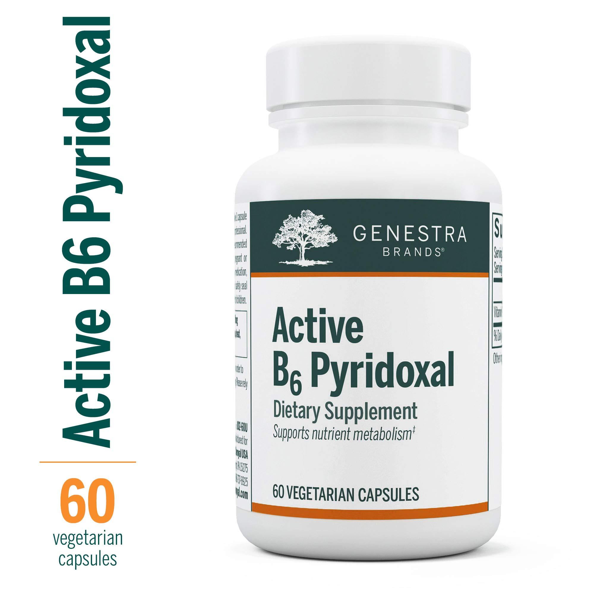 Genestra Brands - Active B6 Pyridoxal - Pyridoxal-5-Phosphate (P5P) Supplement - 60 Capsules by Genestra Brands