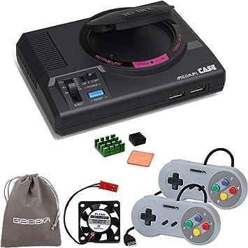 GeeekPi Retroflag MEGAPi Case con Controladores de Juegos con Cable USB y Ventilador de disipador de Calor de ...