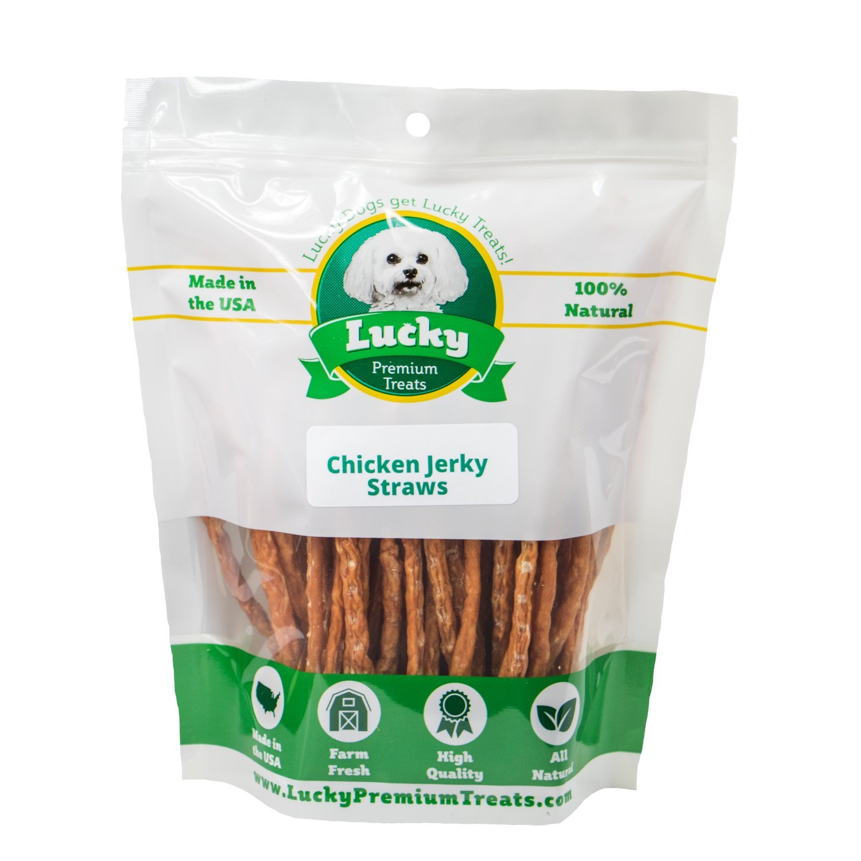 Lucky Premium Treats Natural Chicken Jerky Straws Dog Treats, 2 lb. Bag by Lucky Premium Treats