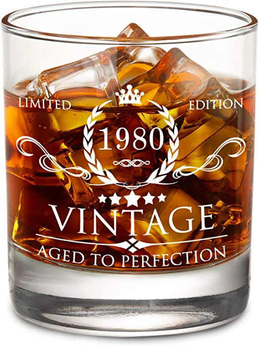 1980 40th Birthday Gift for Men and Women Lowball Whiskey Glass - Vintage Funny Anniversary Gift Ideas for Mom, Dad, Husband, Wife - 40 Years Gifts, ...