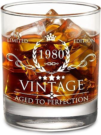 a/ño 1979, 40 cumplea/ños o aniversario Vaso de cristal para whisky English Pewter Company VIN004