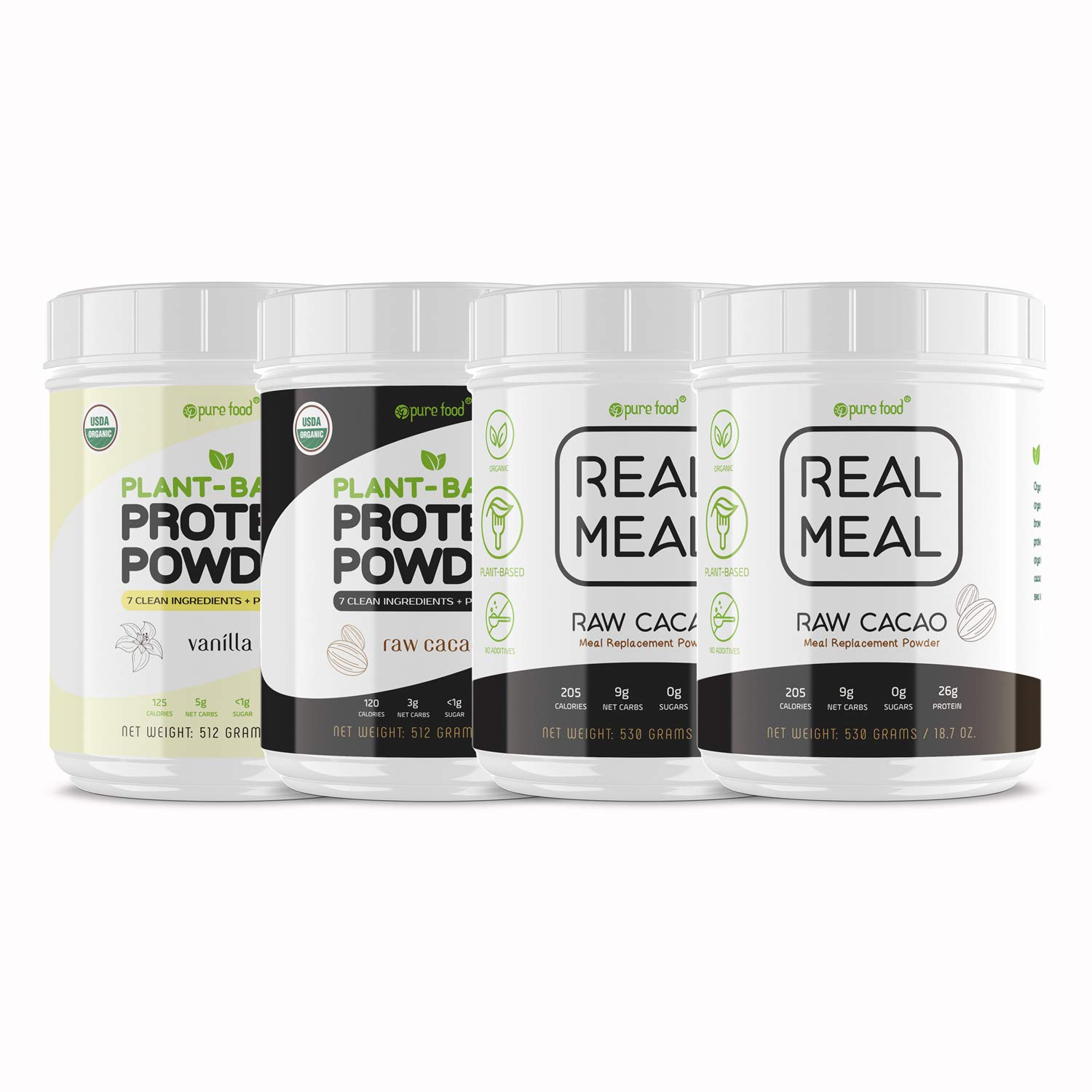 Pure Food Real Meal Replacement Powder + Vanilla & Raw Cacao Protein Powder | Plant-Based,