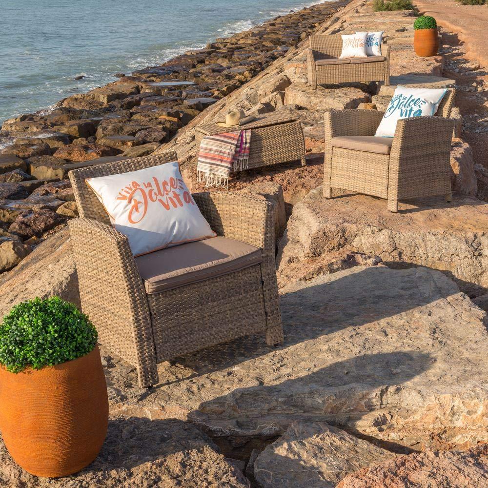 Conjunto de jardín de rattán marrón para terraza y Exterior ...