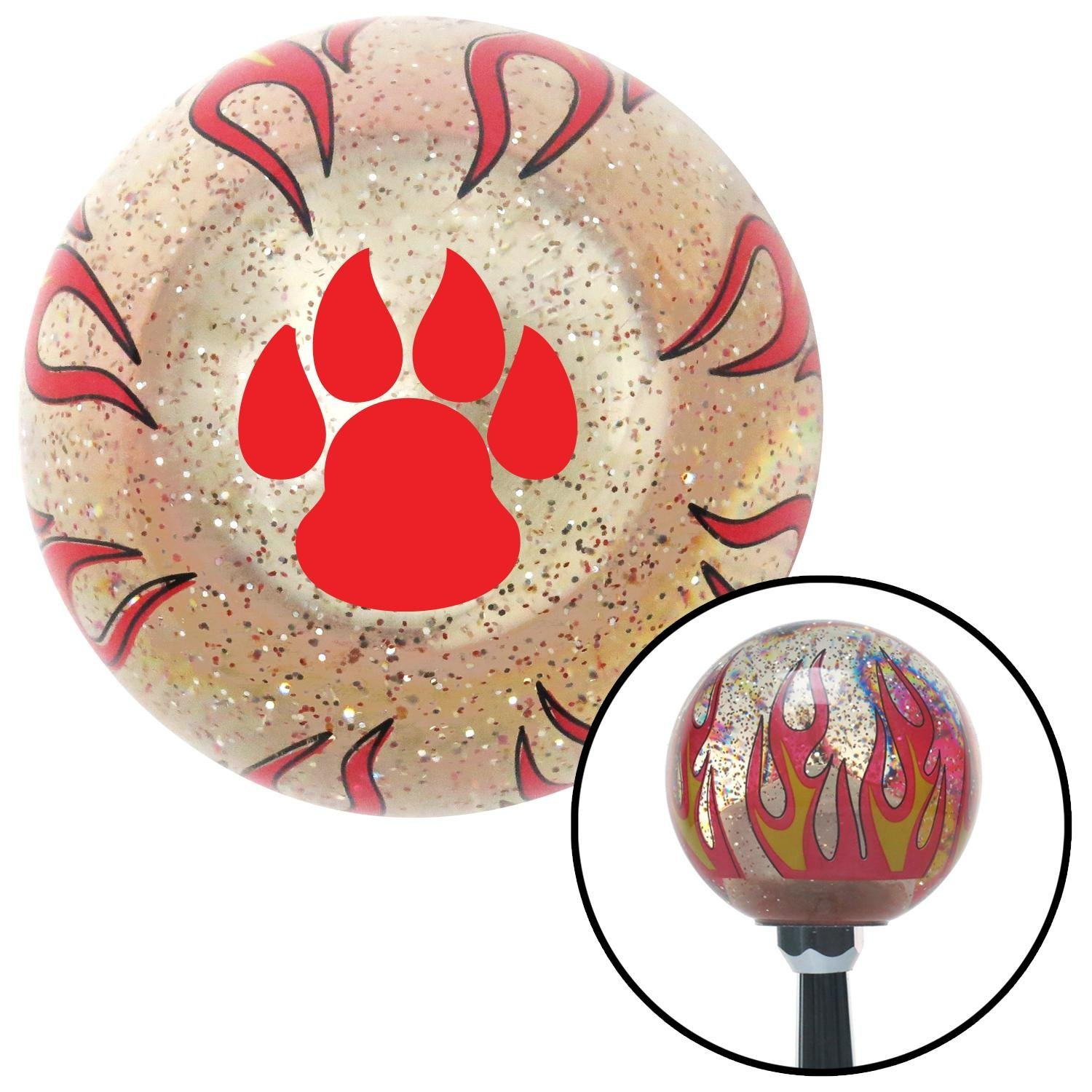 American Shifter 233893 Clear Flame Metal Flake Shift Knob with M16 x 1.5 Insert Red Pawprint Sharp