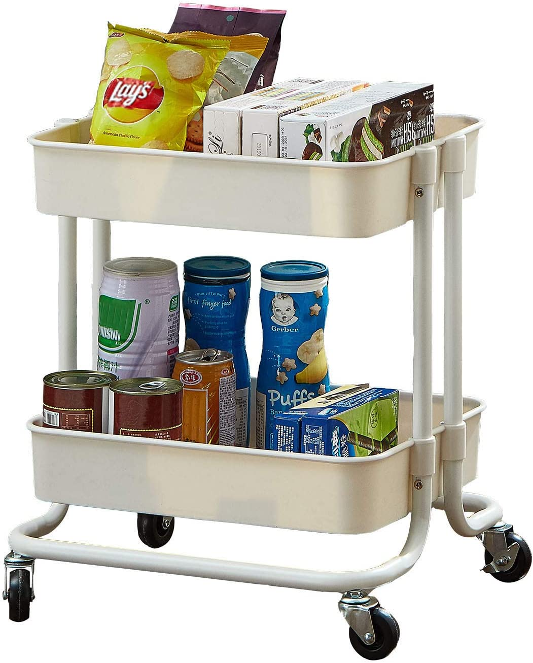 2-Tier Utility Rolling Cart Storage Sofa Side Table with Wheels, Mobile Trolley Organizer with for Office Home Kitchen Organization, Cream White