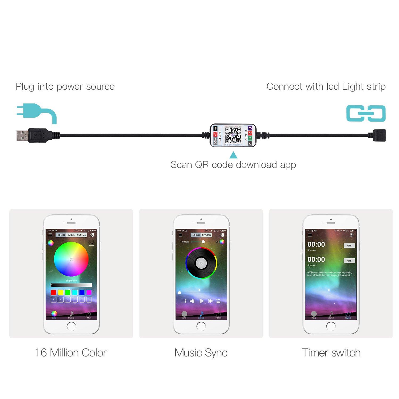 Amazoncom Jackyled App Bluetooth Controller Rgb Multicolor Led Strip Light