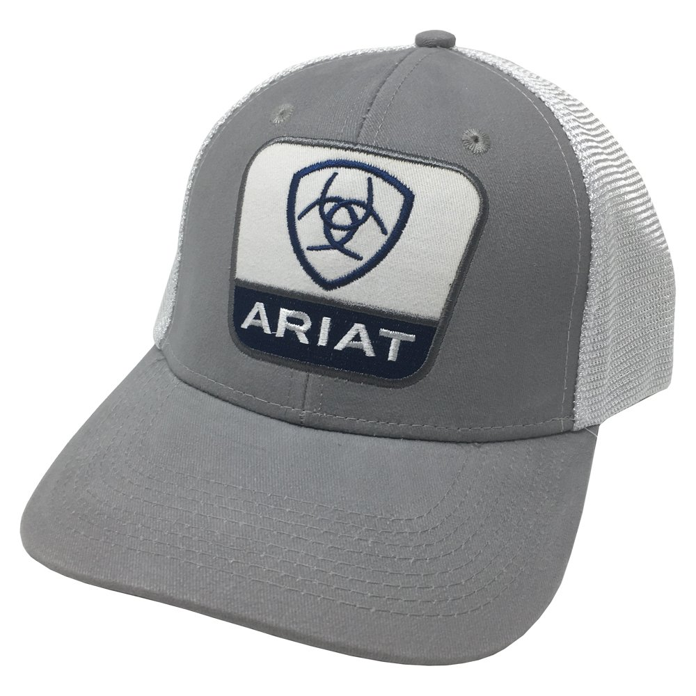 Ariat Men's Center Taper Shield Patch Mesh Cap, Gray, One Size