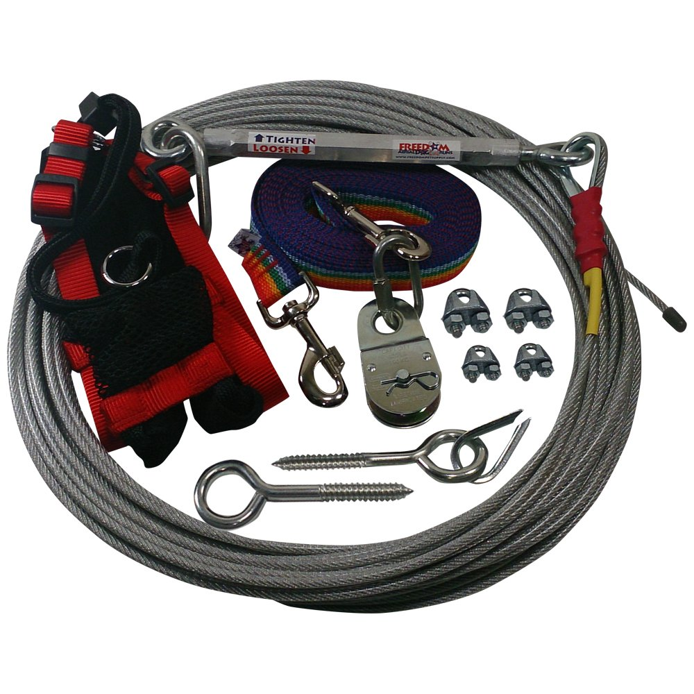 Freedom Aerial Dog Runs with Polypropylene Lead Line and Medium Comfort Safety Harness (Rainbow Spectrum, 25 FT)