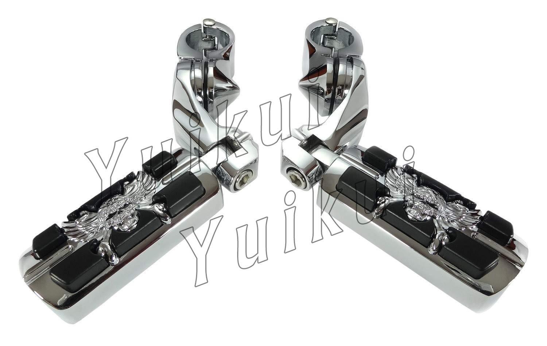 YUIKUI RACING オートバイ汎用 1-1/4インチ/32mmエンジンガードのパイプ径に対応 スカル髑髏男性マウント ハイウェイフットペグ タンデムペグ ステップ HONDA 1800 VALKYRIE RUNE 2004-2005等適用   B07PY2M5TD