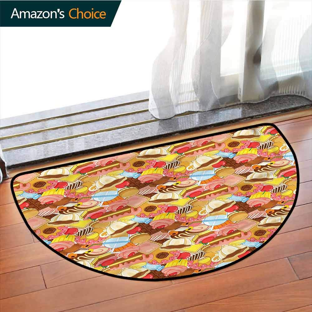 DESPKONMATS Colorful Semi-Circular Carpet Mat Indoor, Tasty Cupcakes Dessert Sofa Plush Area Rug, Phthalate Free, Rugs for Office Stand Up Desk, Half Circle-W39.4 x R23.6 INCH by DESPKONMATS