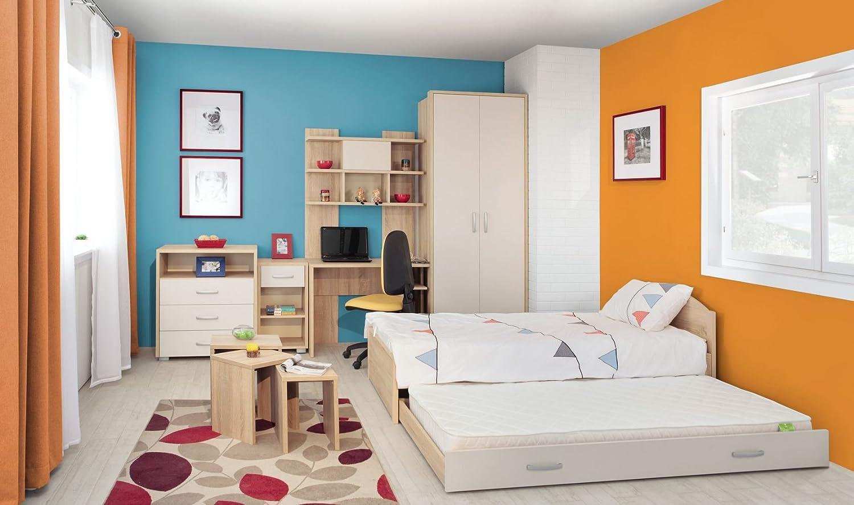 Jugendzimmer Komplett - Set C Gabriel, 8-teilig, Farbe  Eiche Braun Creme