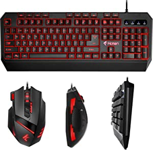 Gaming Keyboard Mouse LED Combo - Hcman 18 Different Macro Keys,Backlit Wired Membrane Keyboard & Programmable 7 Buttons & 5 DPI Mode USB Gaming Mouse, Support Macro Editor, for PC MAC Computer Gamers